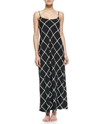 Windowpane Sleeveless Gown, Black