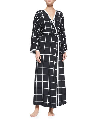 Windowpane-Print Long-Sleeve Robe, Black