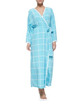Windowpane-Print Long-Sleeve Robe, Ice Blue