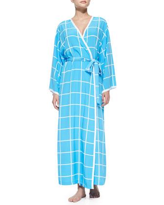 Windowpane-Print Robe, Blue