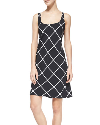 Sleeveless Windowpane-Print Dress
