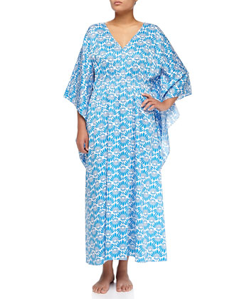 Fleur Voile Caftan, Medium Blue, Women's