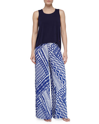 Ikat-Print Wide-Leg Pants, Sailor Blue/White