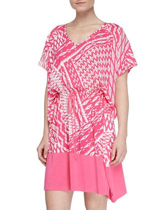 Ikat-Print Challis Rayon Tunic, Cosmo Pink/White