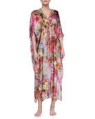 Silk Bead-Trim Floral Caftan