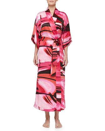 Garland Swirl Print Long Robe, Azalea