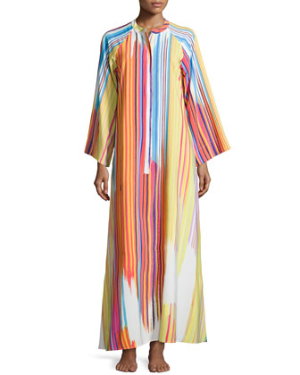 Loren Brushstroke Striped Zip Caftan