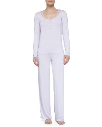 Juliana Lace Trimmed Pajamas, Lavender