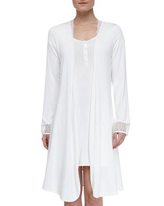 Julianna Short Robe & Short-Sleeve Gown, Ivory