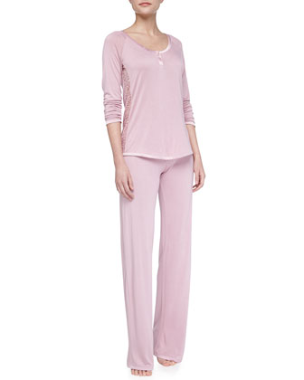 Sophia Scroll-Trim Pajamas, Rose