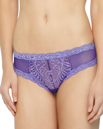 Feathers Lace Trimmed Mesh Hipster Briefs, Morning Glory