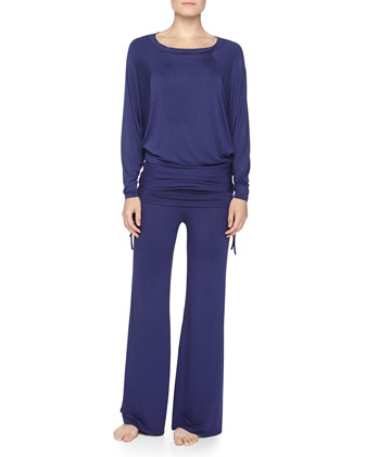 Batwing Top & Palazzo Pants Pajama Set, Midnight Blue