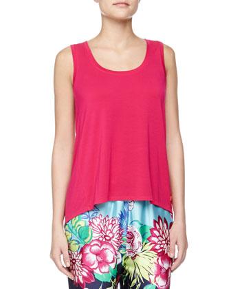 Rimma Floral Print Cuffed Pants, Kimono Wrap Robe & Flowy Jersey Tank ...