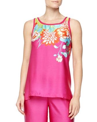 Rimma Floral Print Satin Pajamas, Magenta