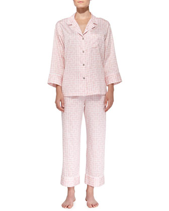 Ming Printed Sateen Pajamas, Blush Pink