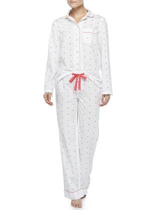Jamie Dotted Pajama Set, White/Pink