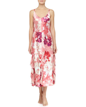 Caliente Floral Print Ruffle Long Gown, Wild Roses