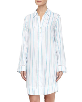 Striped Jacquard Floral Lace Inset Sleepshirt, Blue/White