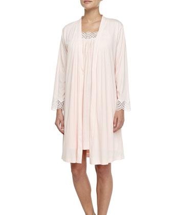 Eyelet-Trimmed Pima Cotton Wrap Robe, Tea Rose