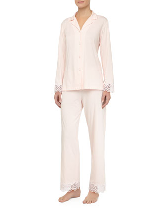 Scalloped Eyelet Trim Pajama Set, Tea Rose