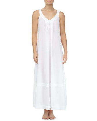 Cotton Batiste Pleated Long Nightgown, White