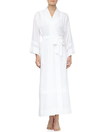 Cotton Batiste Seam Detailed Long Robe, White