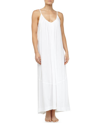 Pima Cotton Seam-Detailed High-Low Nightgown, White
