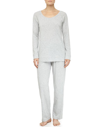 Asymmetric Seam Pima Cotton Pajama Set, Gray