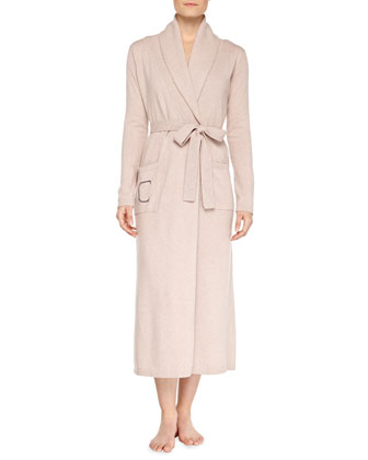 Cashmere Long Robe, Heathered Brulee