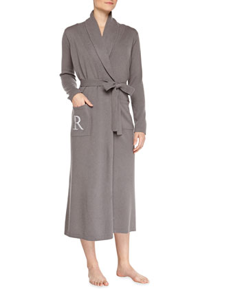 Cashmere Monogrammed Long Robe, Gray