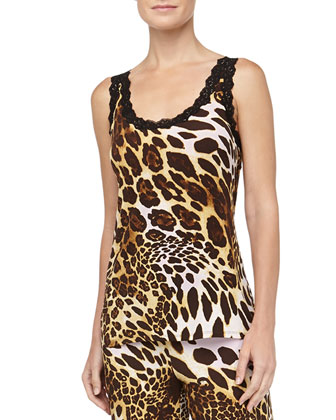 Leopard Print Slinky Jersey Cami, Natural