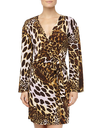 Leopard Print Slinky Jersey Wrap Robe, Natural