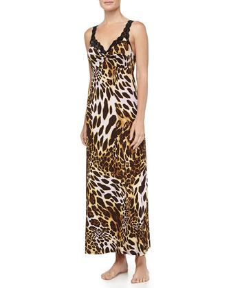 Leopard-Print Slinky Jersey Gown
