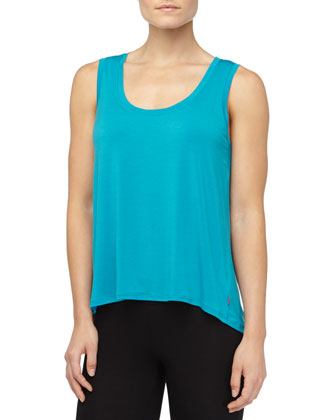 Josie Jersey High-Low Tee, Blue