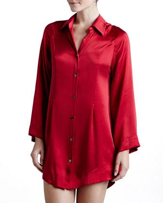 Glamour Silk Button-Front Sleepshirt, Cardinal