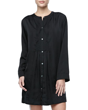 Laundered Satin Sleepshirt, Black