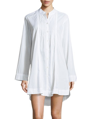 Sateen Cotton Sleep Shirt, White