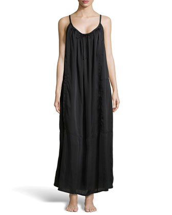 Laundered Satin Tank Gown, Black