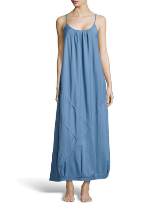 Cotton Batiste Long Nightgown, French Blue