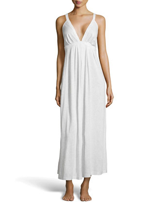 Pima Cotton Long Nightgown, Heather Gray