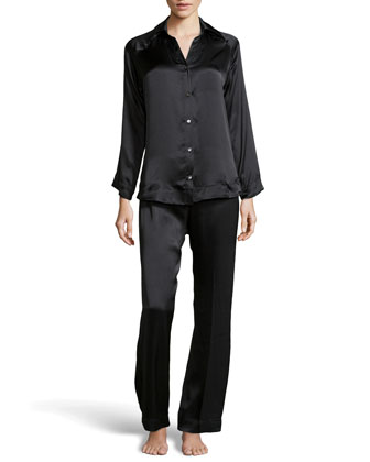Glamour Silk Long Pajama Set, Black