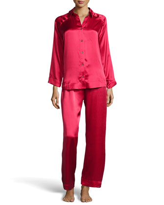 Glamour Silk Long Pajama Set, Cardinal