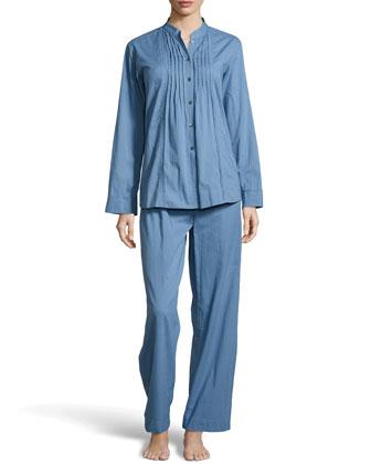 Cotton Batiste Pajama Set, French Blue