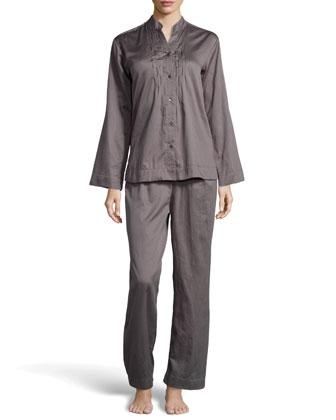 Pintucked Sateen Pajama Set, Mineral