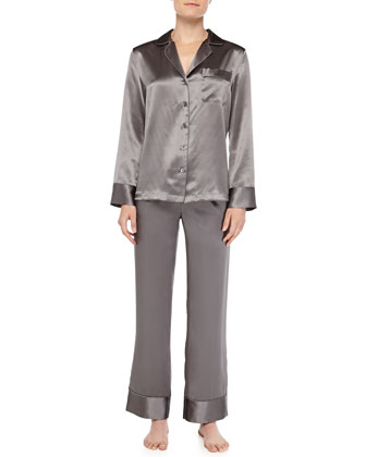 Silk Pajama Set With Mother-Of-Pearl Buttons, Anthracite