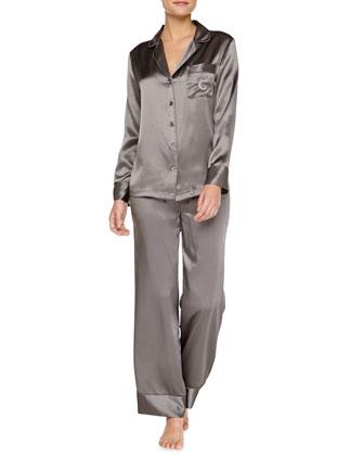 Monogrammed Silk Pajamas, Anthracite