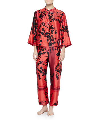 Alexandra Floral-Print Mandarin Pajama Set, Russian Red