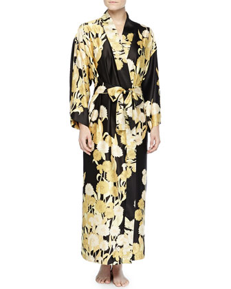 Irina Floral-Print Long Robe, Black/Gold