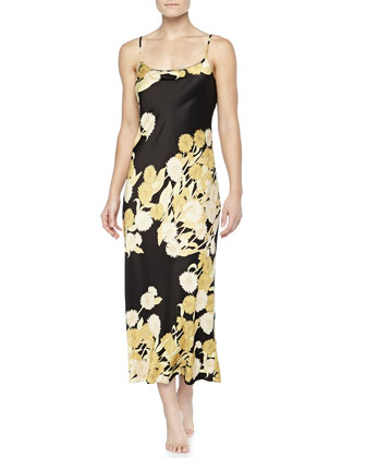 Irina Floral-Print Long Gown, Black/Gold, Women's