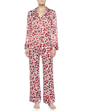 Holiday Floral-Print Silk Pajamas, White/Red